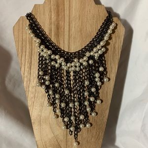 Statement Necklace - Black Pearl